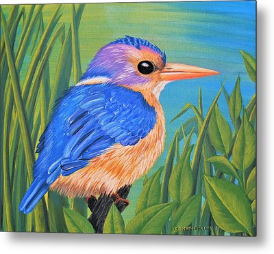 Metal Print featuring the painting Litttle King Of The Fishers by Sophia Schmierer