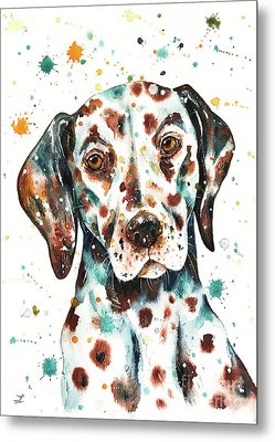 Metal Print featuring the painting Liver-spotted Dalmatian by Zaira Dzhaubaeva