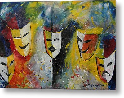 Living Masks Metal Print