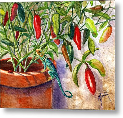 Metal Print featuring the painting Lizard In Hot Sauce by Marilyn Smith