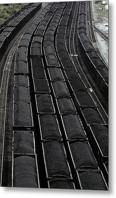 Loaded Coal Cars Sit In The Rail Yards Metal Print by Everett