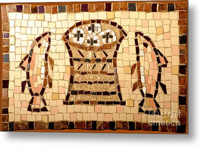 Loaves And Fishes Mosaic Metal Print