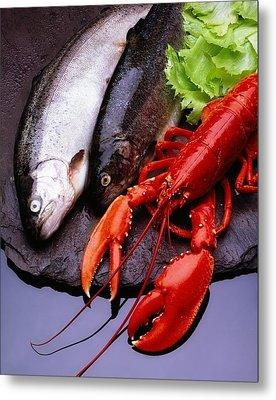 Lobster And Trout Metal Print by The Irish Image Collection