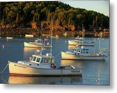 Metal Print featuring the photograph Lobster Boats At Bar Harbor Me  by Emmanuel Panagiotakis