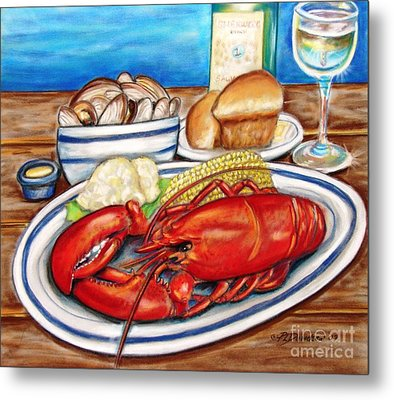 Lobster Dinner Metal Print by Patricia L Davidson