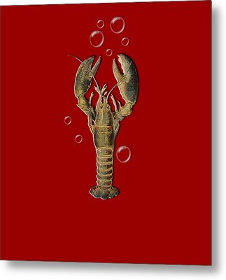 Lobster With Bubbles T Shirt Design Metal Print by Bellesouth Studio
