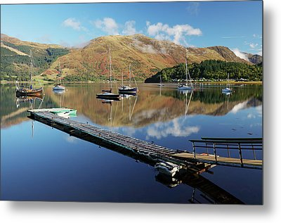 Metal Print featuring the photograph Loch Leven  Jetty And Boats by Grant Glendinning
