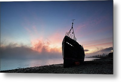 Metal Print featuring the photograph Loch Linnhe Misty Shipwreck by Grant Glendinning