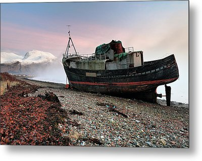 Metal Print featuring the photograph Loch Linnhe Misty Boat Sunset by Grant Glendinning