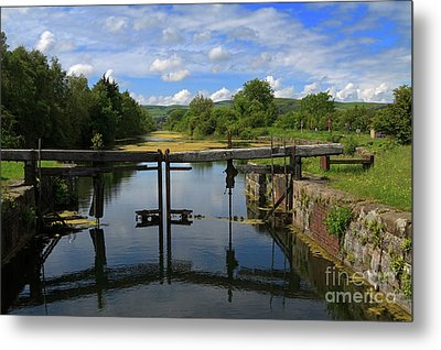 Lock Gates On The Old Canal Metal Print by Louise Heusinkveld