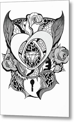 Locked Heart Surrounded By Roses Drawing Metal Print