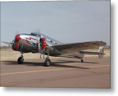 Lockheed 12a Electra Junior Nc18906casa Grande Airport Arizona March 5 2011 Metal Print by Brian Lockett