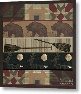 Lodge Cabin Quilt Metal Print