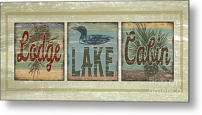 Lodge Lake Cabin Sign Metal Print by Joe Low