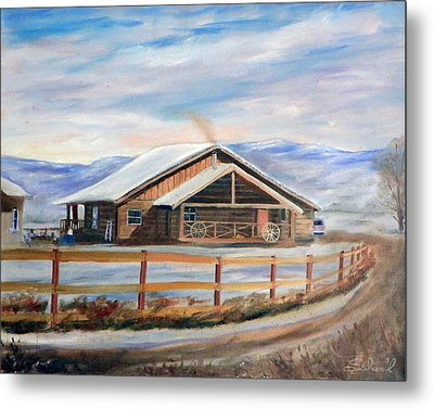 Metal Print featuring the painting Log Cabin House In Winter by Sherril Porter
