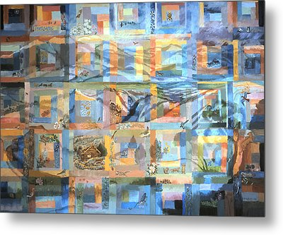 Metal Print featuring the painting Log Cabin Quilt by Dawn Senior-Trask