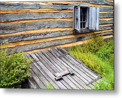 Log Cabin Storm Cellar Door Metal Print by Paul W Faust -  Impressions of Light