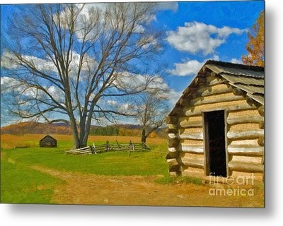 Metal Print featuring the photograph Log Cabin Valley Forge Pa by David Zanzinger