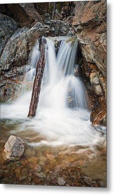 Log In The Waterfall Metal Print