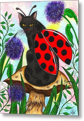 Metal Print featuring the painting Logan Ladybug Fairy Cat by Carrie Hawks