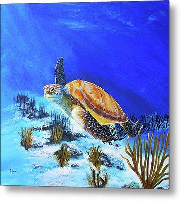 Loggerhead Sea Turtle Metal Print by John Moon