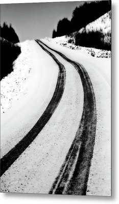 Logging Road In Winter Metal Print