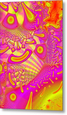 Lollipop Psychedelic 3d Fused Glass Metal Print by Sharon and Renee Lozen