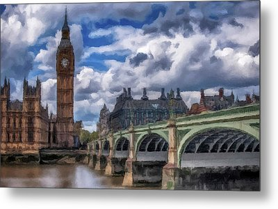 Metal Print featuring the painting London Big Ben by David Dehner