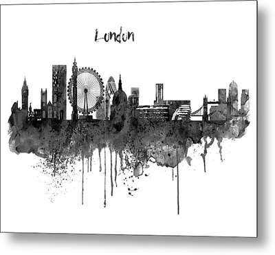 London Black And White Skyline Watercolor Metal Print by Marian Voicu