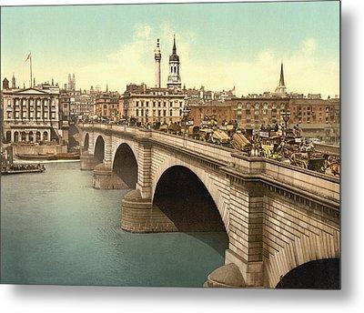 London Bridge Across The Thames River Metal Print by Vintage Design Pics