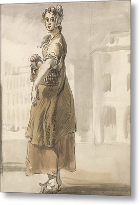 London Cries - A Girl With A Basket Of Oranges Metal Print by Paul Sandby