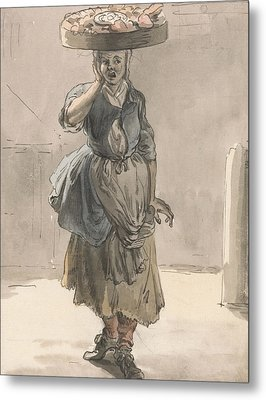 London Cries - A Girl With A Basket On Her Head Metal Print by Paul Sandby