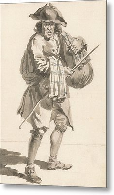 London Cries - A Man With A Bundle, Old Clothes Metal Print by Paul Sandby