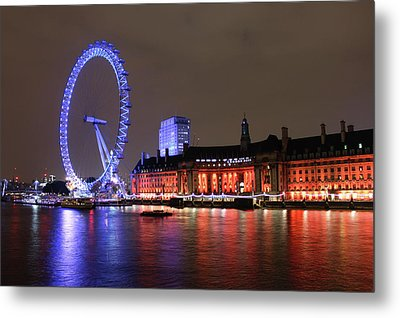 Metal Print featuring the photograph London Eye By Night by RKAB Works