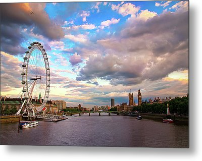 London Eye Evening Metal Print by Kapuk Dodds