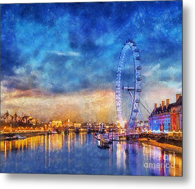 Metal Print featuring the photograph London Eye by Ian Mitchell