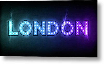 London In Lights Metal Print by Michael Tompsett