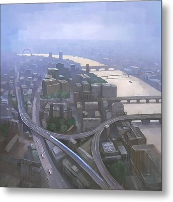 London, Looking West From The Shard Metal Print by Steve Mitchell