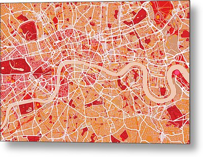 London Map Art Red Metal Print by Michael Tompsett