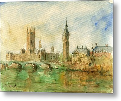 London Parliament Metal Print by Juan  Bosco