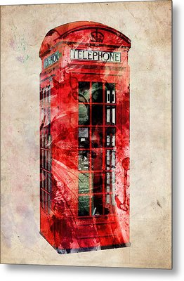 London Phone Box Urban Art Metal Print by Michael Tompsett