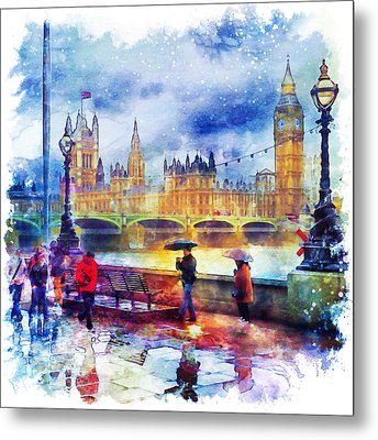 London Rain Watercolor Metal Print by Marian Voicu