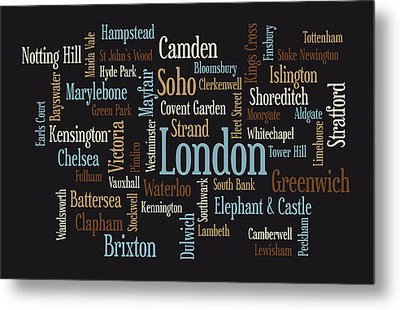 London Text Map Metal Print by Michael Tompsett
