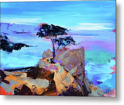 Metal Print featuring the painting Lone Cypress by Elise Palmigiani