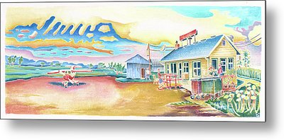 Lone Rock Airport Metal Print by Linda Kelen