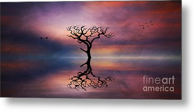 Metal Print featuring the digital art Lone Tree Sunrise by Ian Mitchell