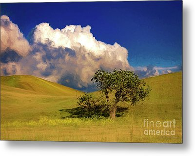 Metal Print featuring the photograph Lone Tree With Storm Clouds by John A Rodriguez