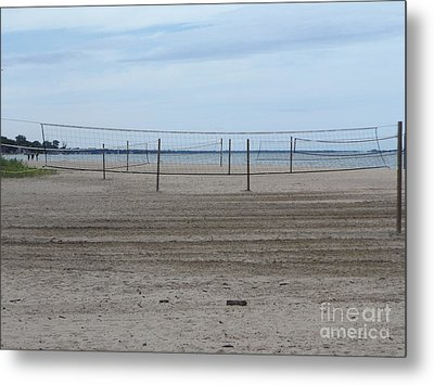 Lonely Beach Volleyball Metal Print