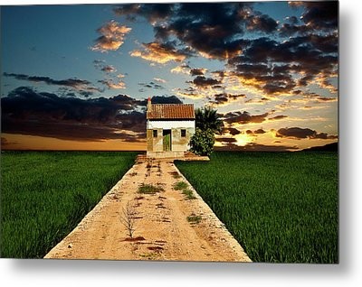 Metal Print featuring the photograph Lonely Farm House  by Harry Spitz