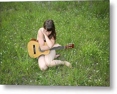 Metal Print featuring the photograph Lonely Guitar by Lucky Cole